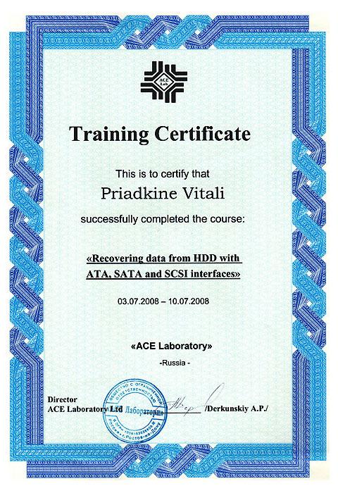 ACELAB 2008 Certificate