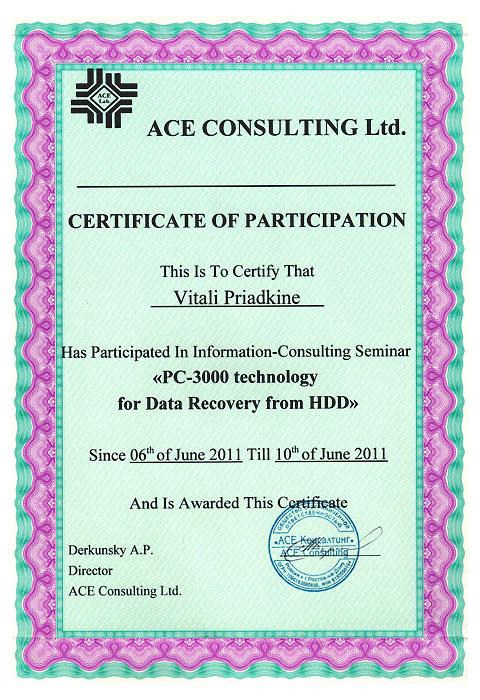 ACELAB 2011 Certificate