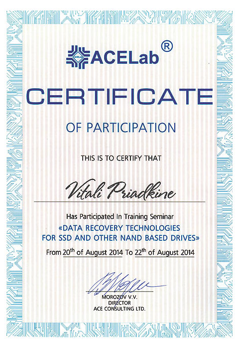 ACELAB 2014 Certificate