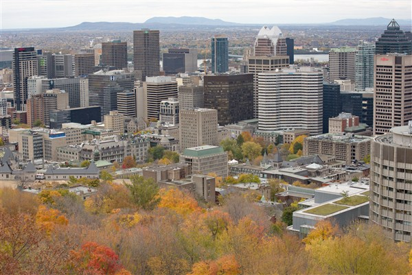 Montreal view from mont royal in fall