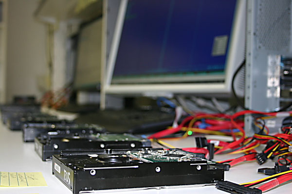 line of hard drives in data recovery process