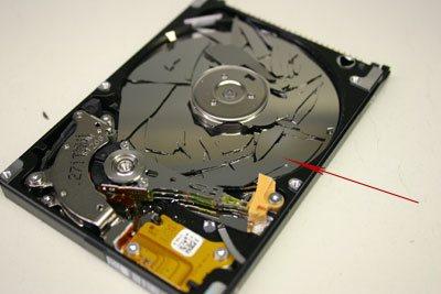 hard drive with broken platters